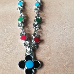 Cute silver metal chain bead necklace